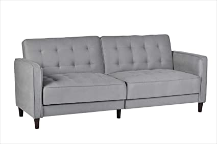 Container Furniture Direct Sb 9042 Madelina Modern Fabric Convertible Tufted Sleeper Sofa 81 Grey