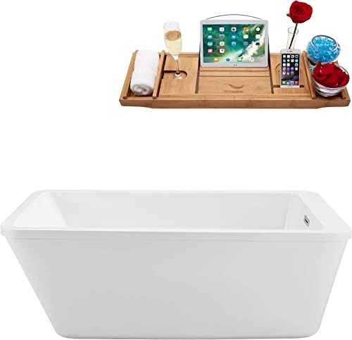 Streamline Freestanding Soaking 60 N-240-60FSWH-FM Acrylic Bathtub, White Comes with Internal Drain And Chrome Overflow Bamboo Tray Included