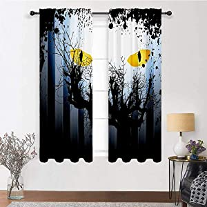 """Farmhouse Kitchen Curtains Horror House Decor for Kitchen Cafe Decor Scary Eyes Backgrounded Leafless Old Branch Angry Hunt Animal Creature 2 Panels 96"""" x 84"""" Yellow Black"""