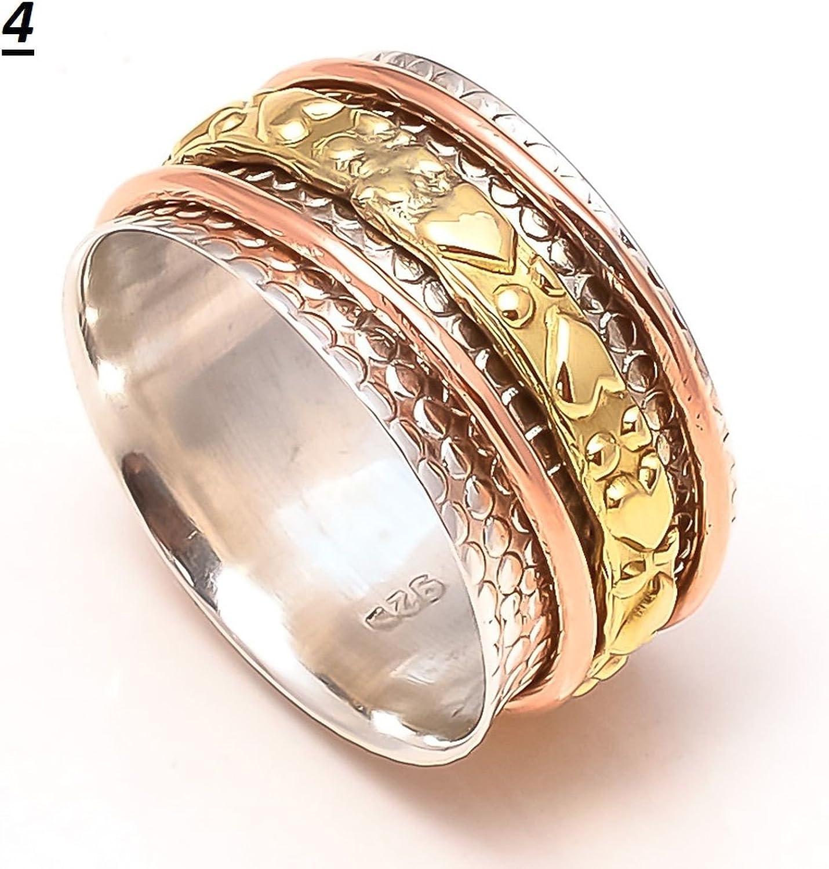 JewelsExporter Embossed Tibetan Sterling Silver Spinner Ring Meditation Mens Ring Buddhist Prayer Ring 11.5US