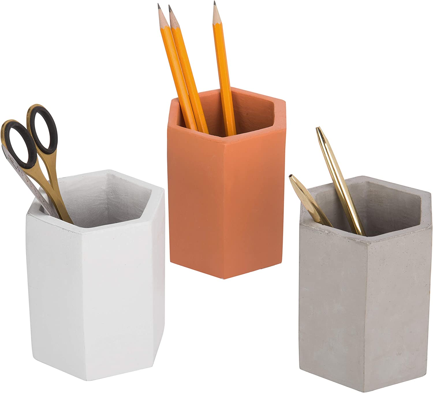 MyGift Set of 3 Multicolor (Grey, Orange, White) Clay Pencil Holder Office Supply Storage Cups
