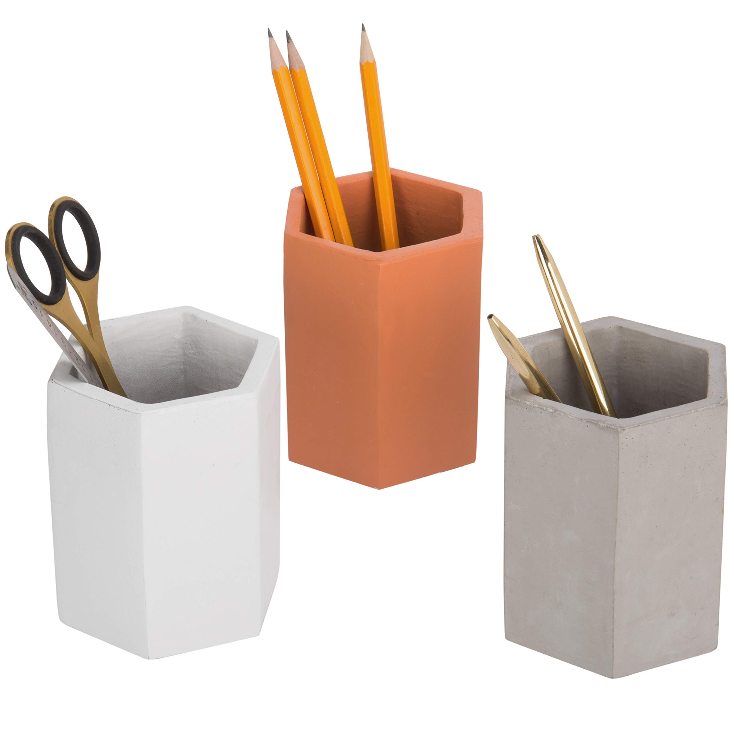 MyGift Set of 3 Multicolor (Grey, Brown, White) Clay Pencil Holder by MyGift