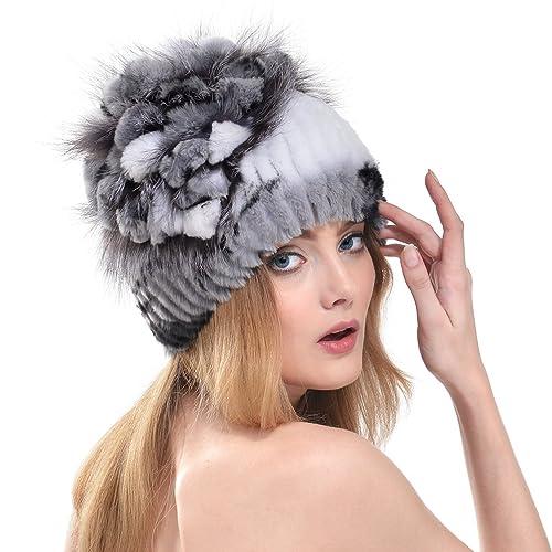 OLLEBOBO Vera Pelliccia Coniglio Cappello Donna Berretto Elegante Comodo Caldo