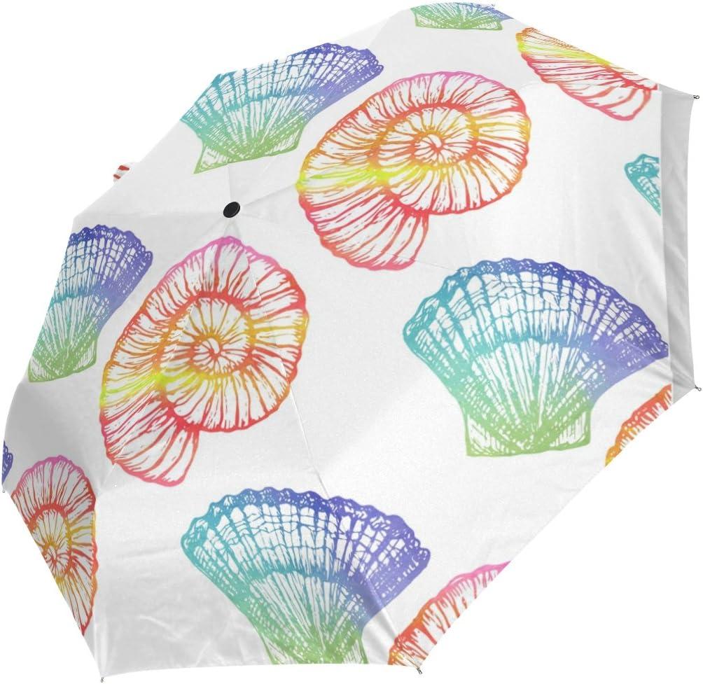 DOENR Sea Shell Compact Travel Umbrella Sun and Rain Auto Open Close Umbrellas Windproof UV Protection Umbrella