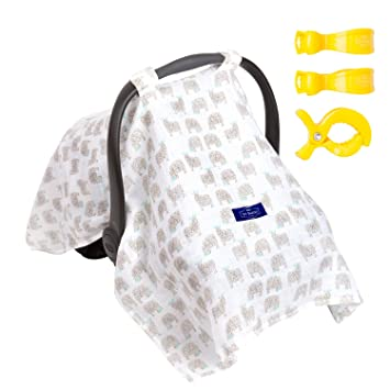 100 ORGANIC Cotton Baby Car Seat Canopy Cover Stroller Covers Gift