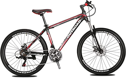 Max4out Mountain Bike 21 Speed 26 inch Shining SYS Double Disc Brake Suspension Fork Rear Suspension Anti-Slip Bikes, Red Silver