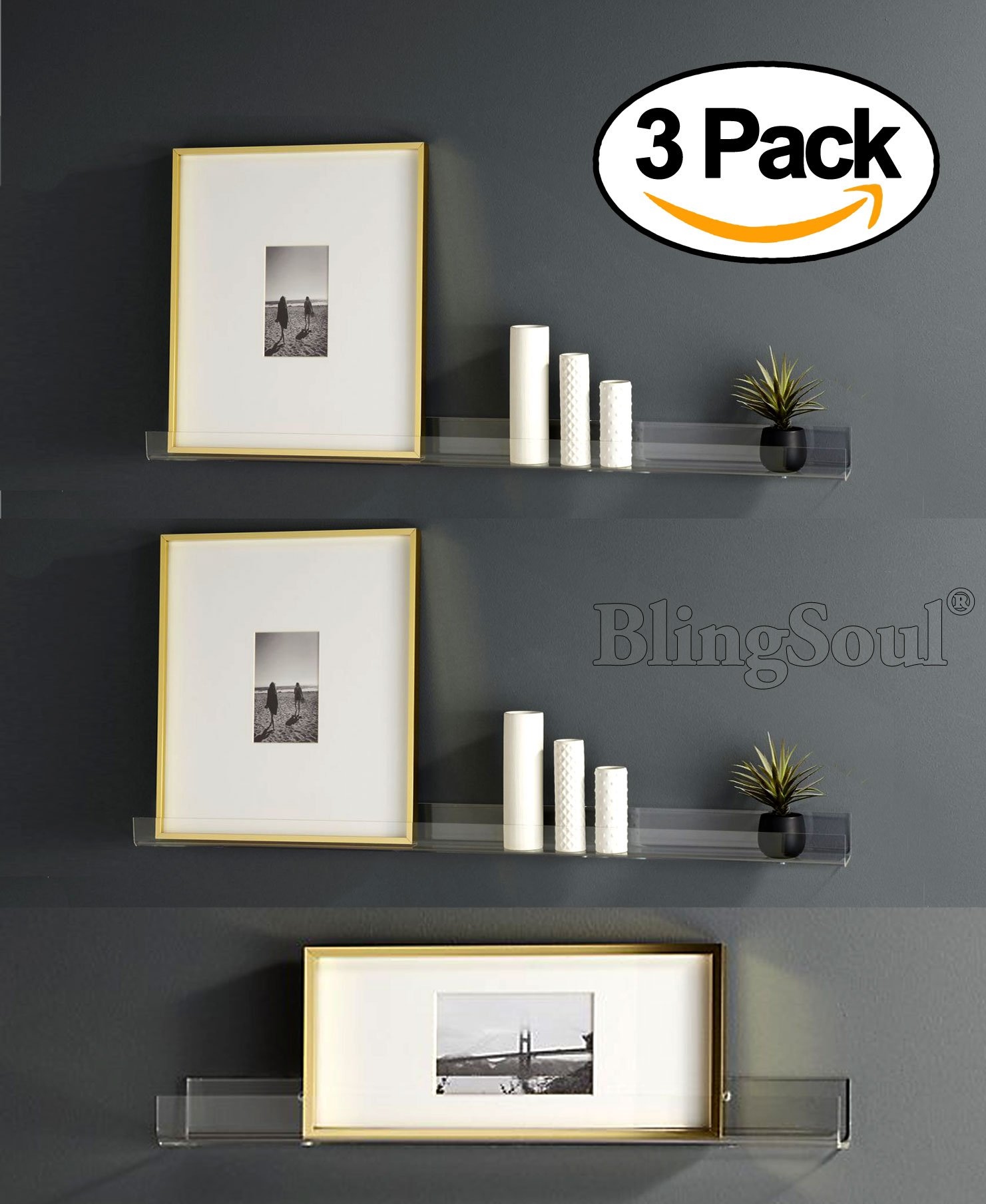 3 Heavy Duty Clear Floating Shelf Set, Crystal Acrylic Bathroom Shelves, Shower Caddy, Nail Polish Women Makeup Organizer, Spice Rack Kids Room Wall Decor Display Bookshelf