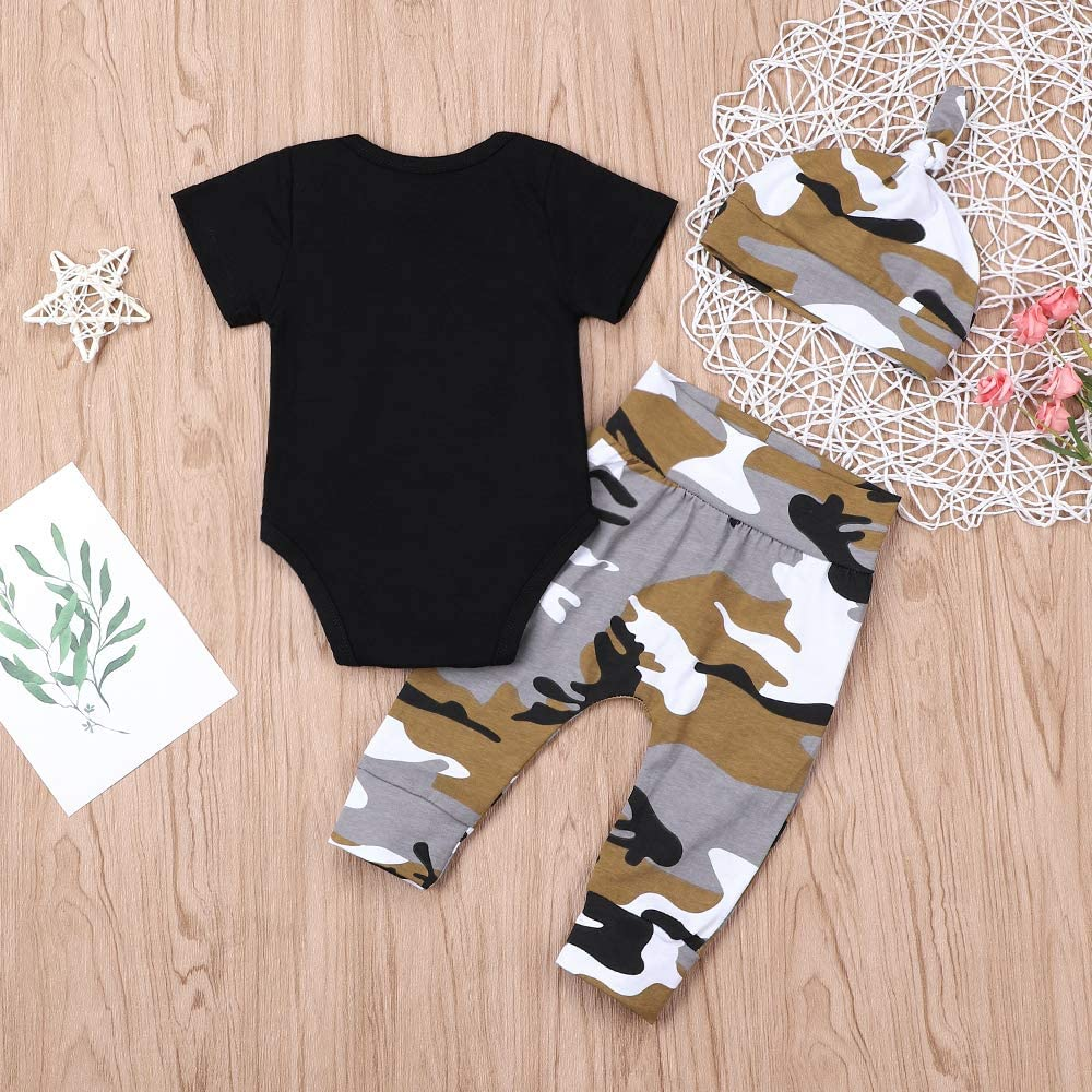 Newborn Baby Boy Clothes New to The Crew 3pcs Outfits Romper Hat Autumn Winter Camouflage Pants Sets