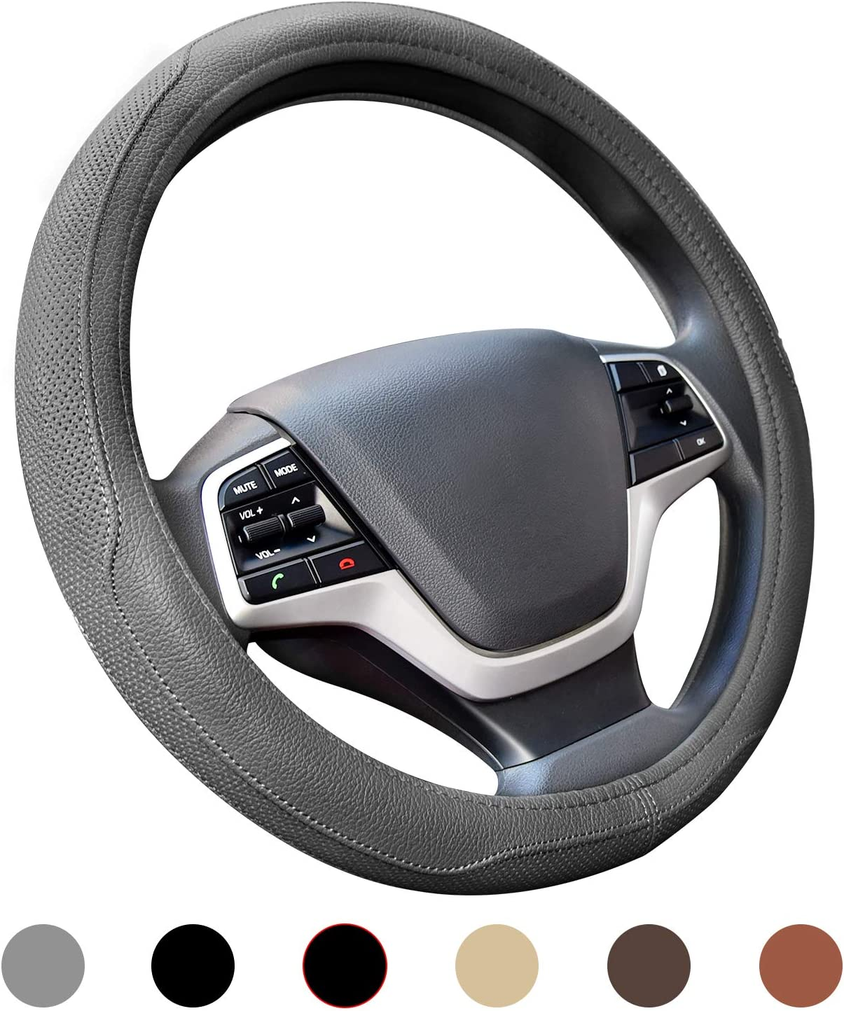 SEAZEN Steering Wheel Cover with Microfiber Leather Universal 15 inch Auto Car Steering Wheel Cover Black Breathable Anti-Slip Odorless