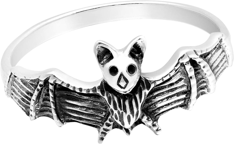 AeraVida Stylishly Spooky Nocturnal Bat .925 Sterling Silver Ring