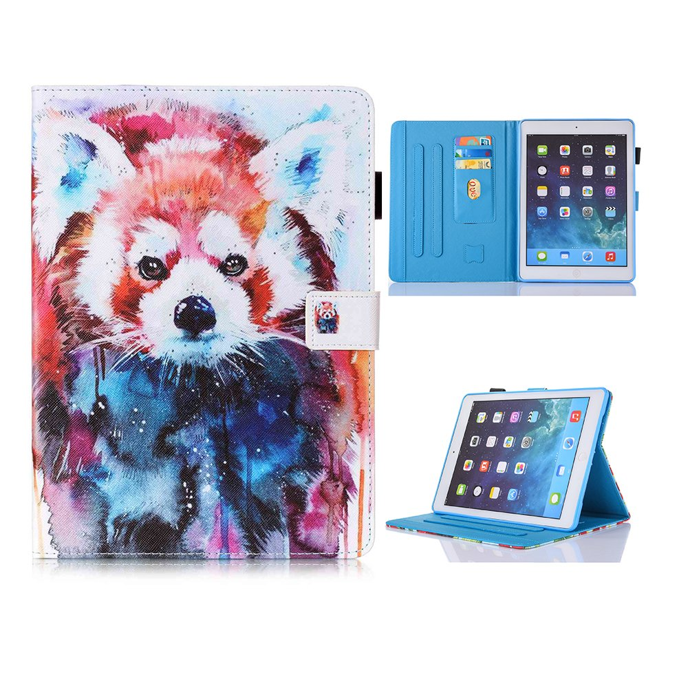 New iPad Case Smart Leather Case - UNOTECH Card Slot Protective Case with Pen Holder Wake/Sleep Function for New iPad 9.7 Inch 2017,iPad Air 1 2, Leopard Cat by UNOTECH (Image #1)