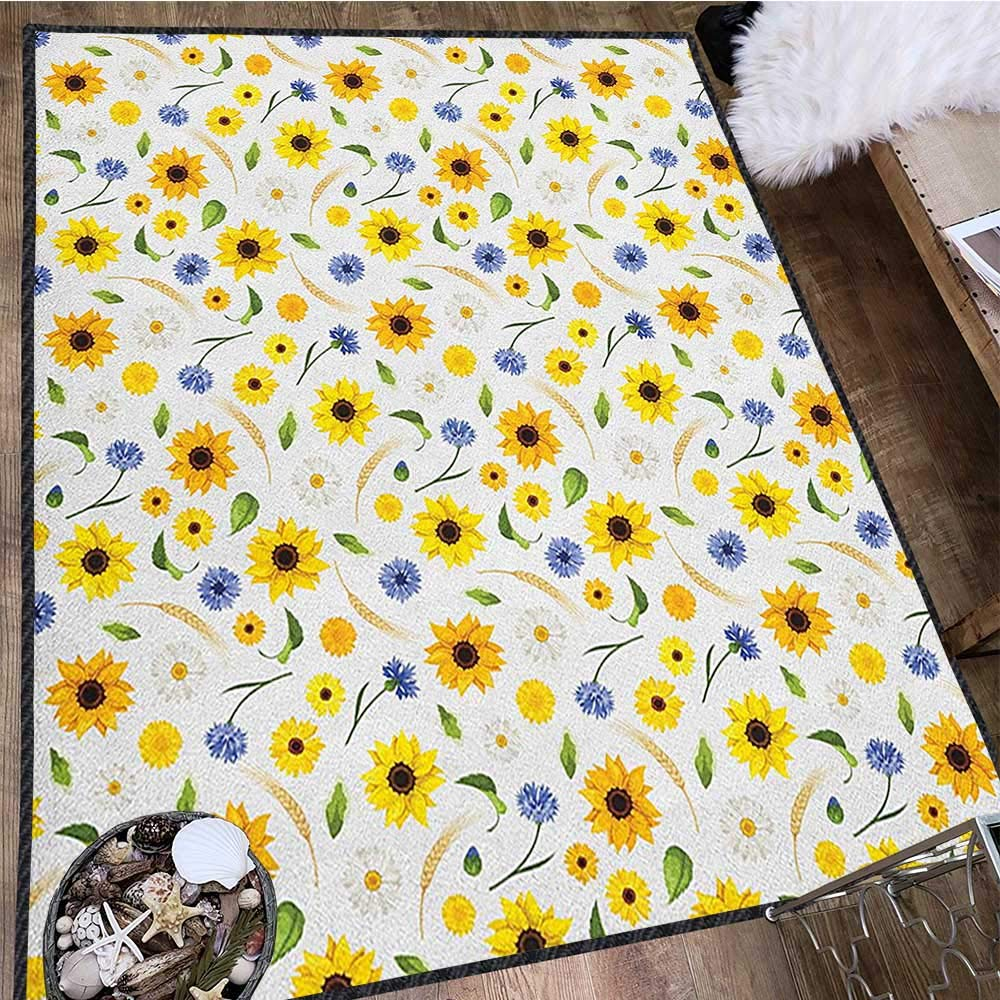 Yellow and White Decor Area Rug,Botanical Arrangement of Summer Flowers Wheat Daisy Blossoming Nature Machine Washable Multicolor 71''x83'' by Philip C. Williams