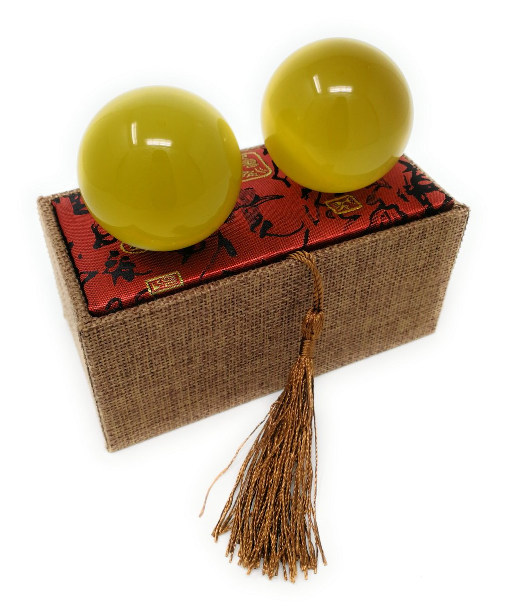 Artificial Tiger Eye Crystal Gemstone Quartz Chinese Health Stress Exercise Baoding Balls (Yellow)