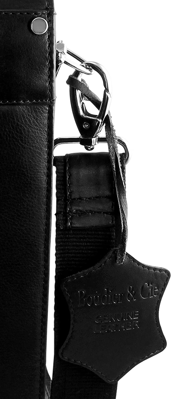 Boudier /& Cie Men business bag briefcase shoulder strap single handle black leather BBG3