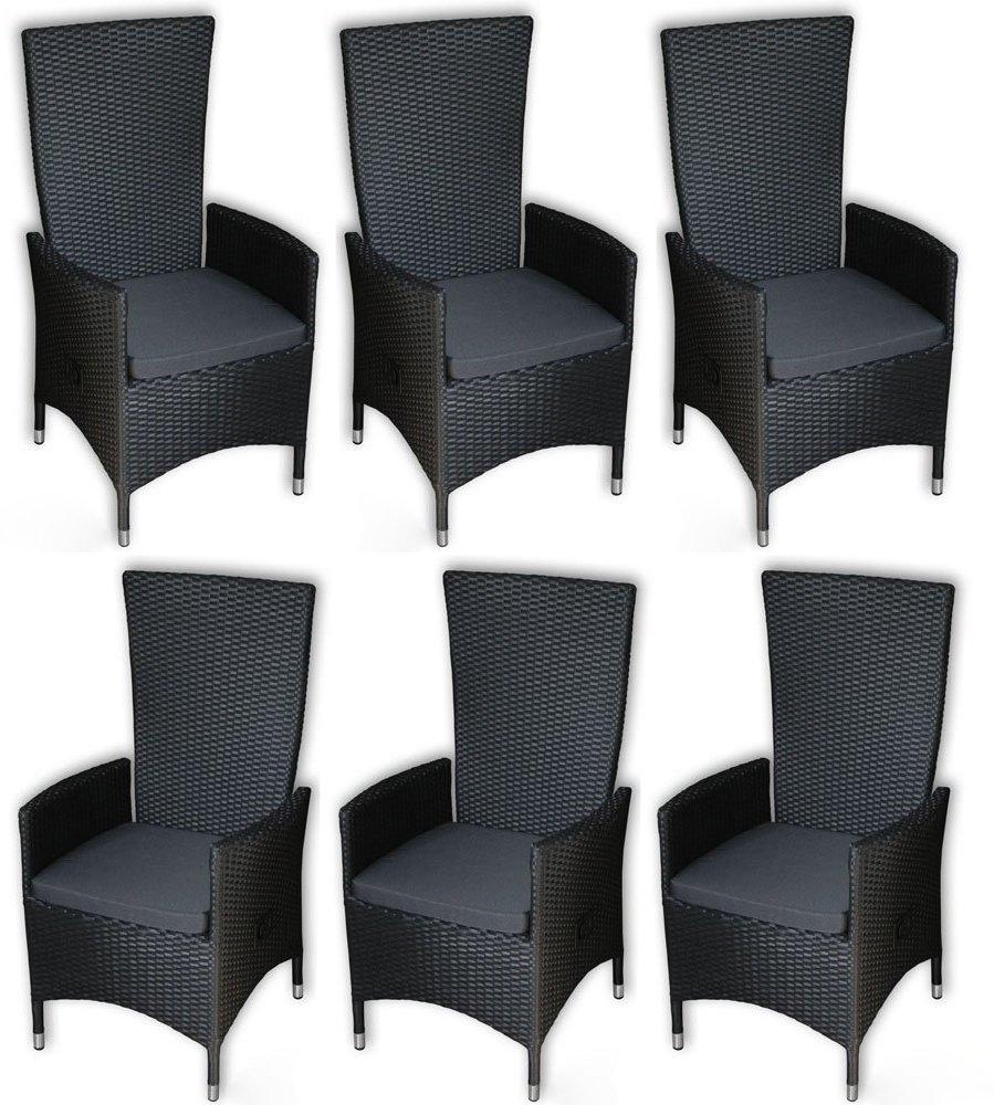 KMH®, 6er Set Polyrattan Hochlehner Tjorben schwarz incl. Kissen (stufenlos verstellbare Rückenlehne - 4 String) (#106250)