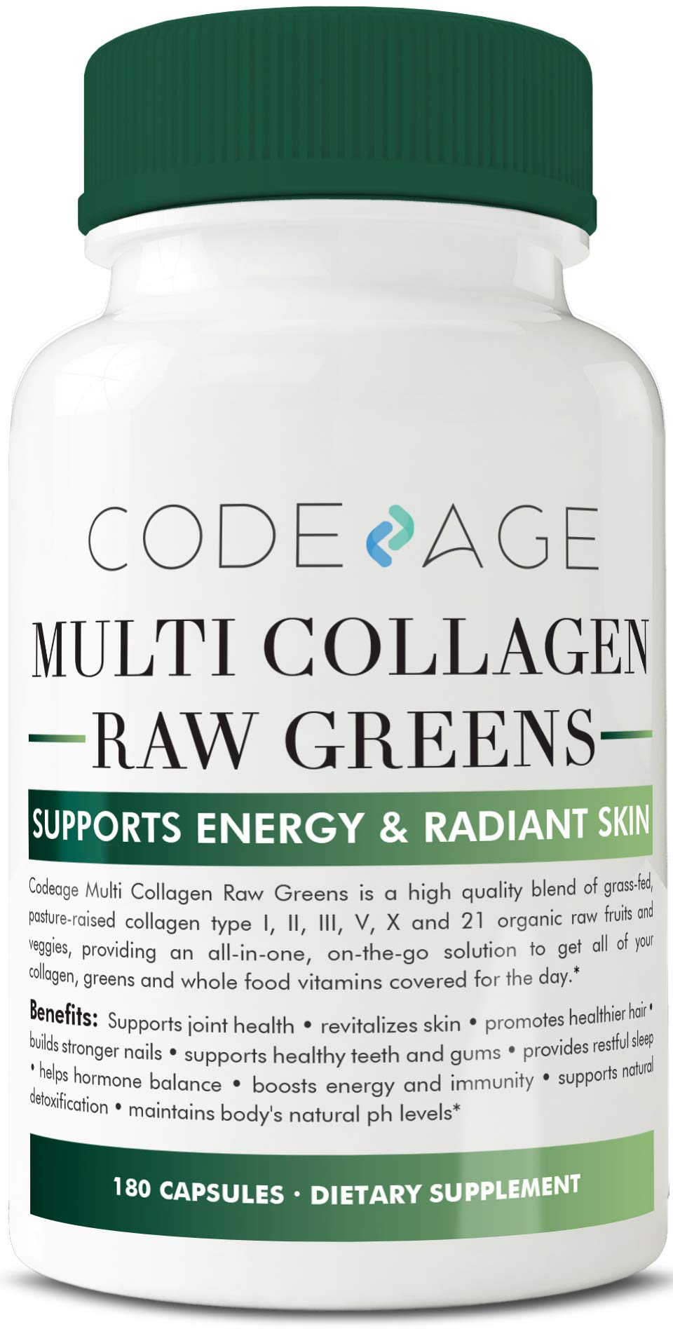 Codeage Multi Collagen Pills and Raw Greens Superfood, Grass Fed Collagen Type I, II, III, V, X and 21 Organic Nutritions, 180 Capsules by Codeage