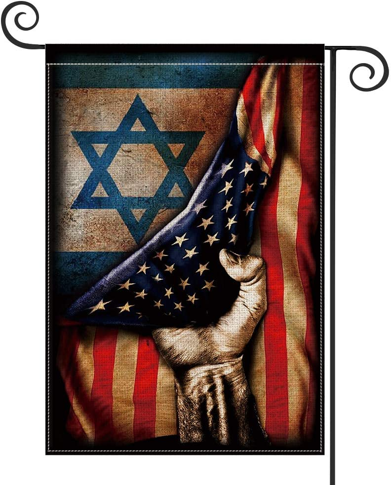 AVOIN Star of David American Flag Garden Flag Vertical Double Sided, Watercolor US Flag Yard Outdoor Decoration 12.5 x 18 Inch