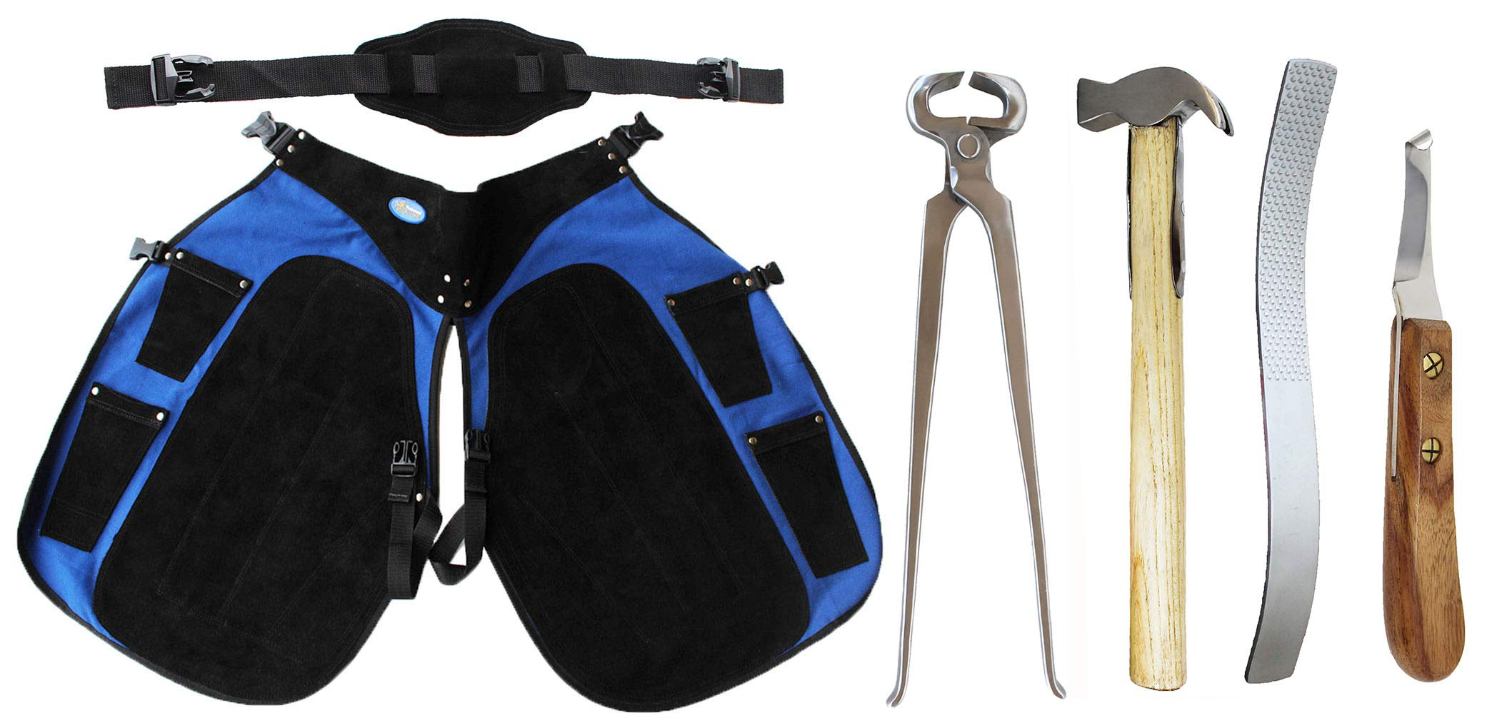 CHALLENGER Horse Farrier Tool 5-Piece Hoof Care Kit w/Apron 984K08