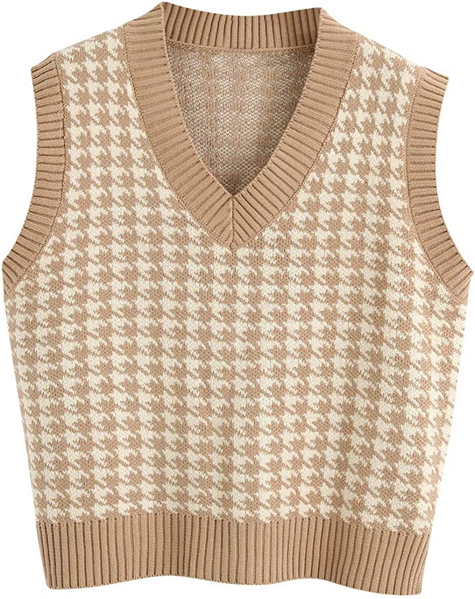 Sdencin Women Houndstooth Pattern Knit Sweater Vest Sleeveless Loose V-Neck 90s Waistcoat Pullover Knitwear Top at  Women's Clothing store