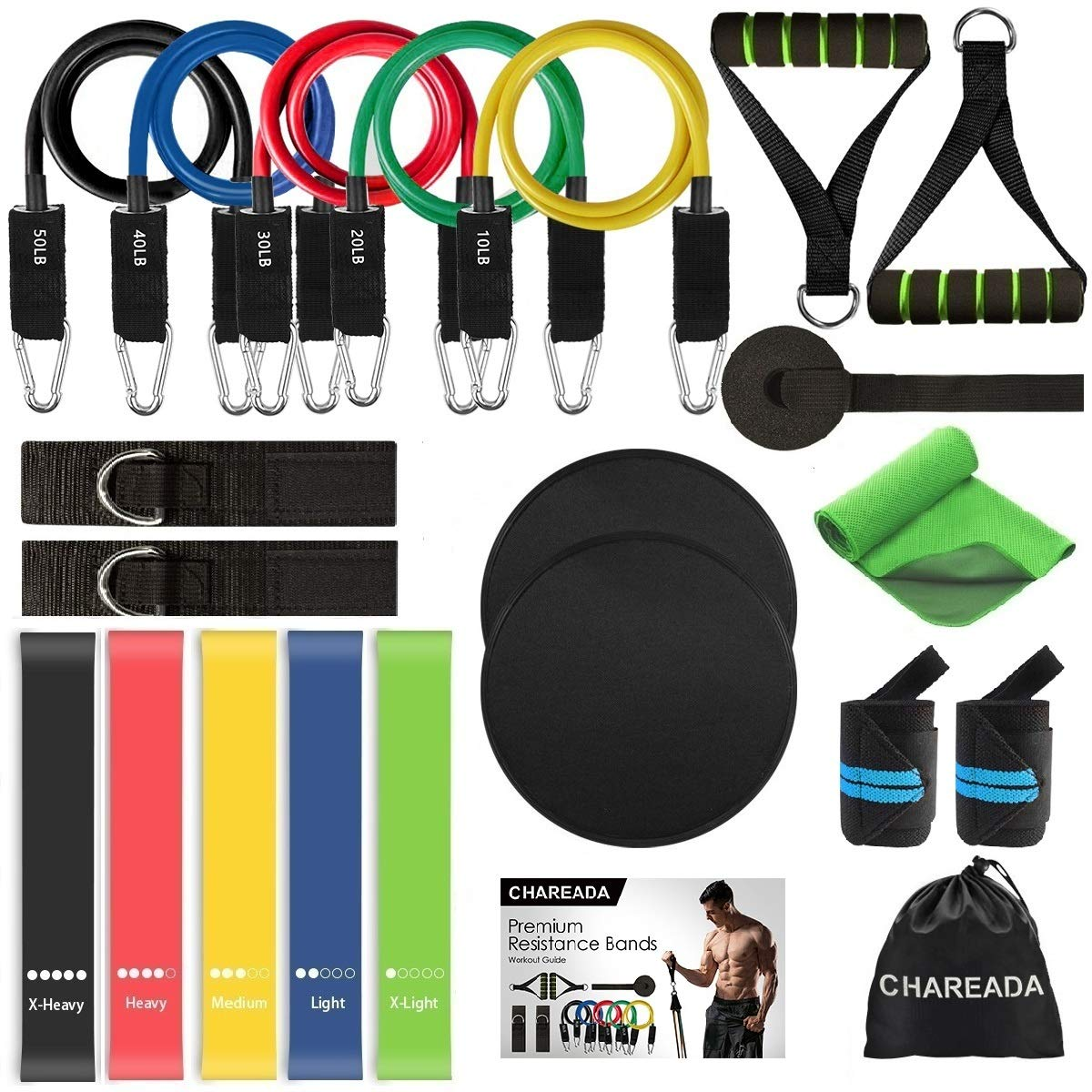 CHAREADA 22 Pack Resistance Bands Set Workout Bands, 5 Stackable Exercise Bands 5 Loop Resistance Bands 2 Core Sliders – Door Anchor Handles Ankle Straps Carry Bag Instant Cooling Towel Wrist Wraps