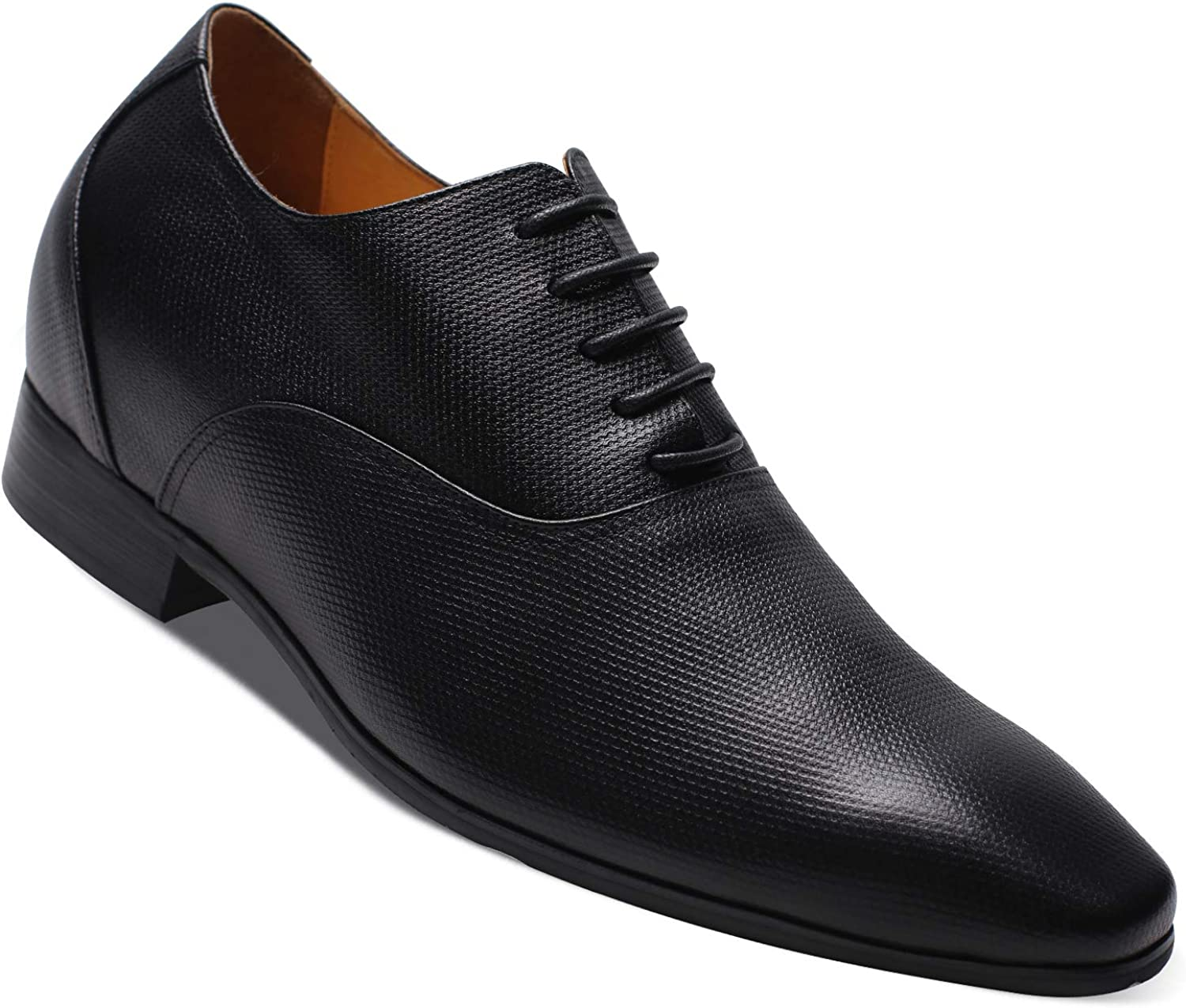 CHAMARIPA Mens Invisible Height Increasing Elevator Shoes-Black Genuine Leather Formal Oxford Dress Shoes 2.96 Inches Taller