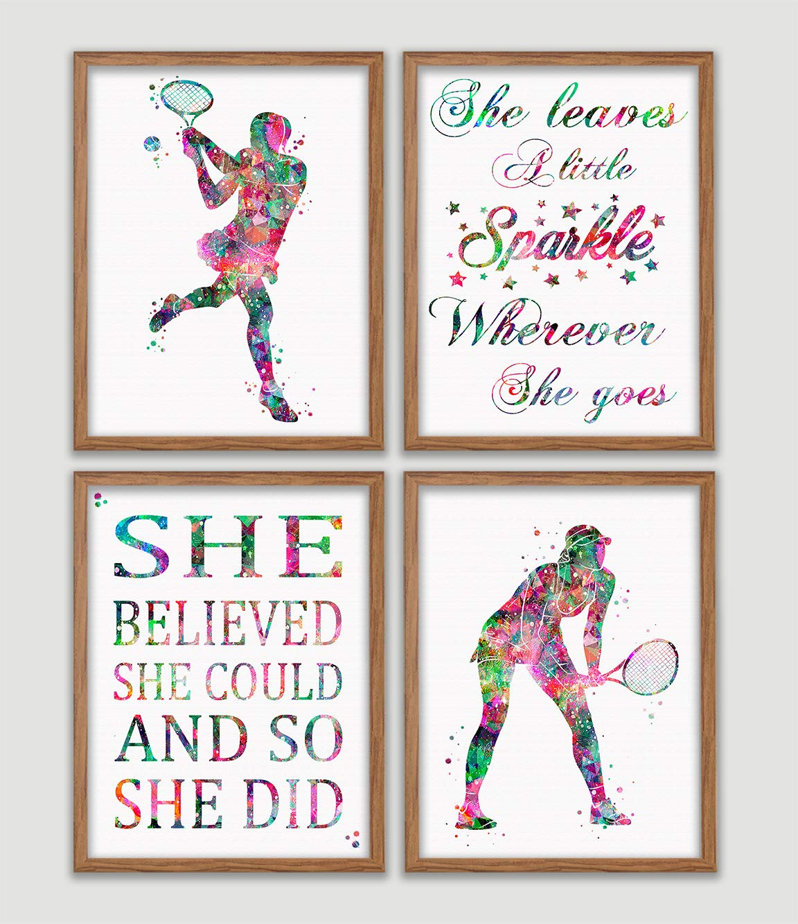 Tennis Player Girl Watercolor Poster Set Girl Tennis Player Art Prints Girl's Room Wall Decor Teen Girl's Wall Art Girl Sports Home Decor Wall Hanging Great Gift for Tennis Player
