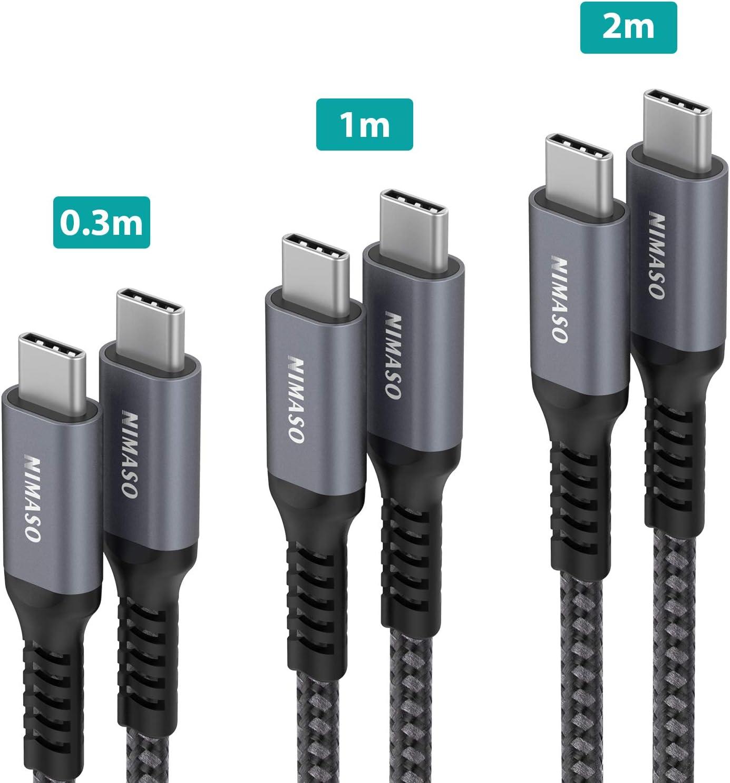 Cable USB. 3 Pack:0.3m+1m+2m. Cable Tipo C Carga Rápida 60W 20V/3A Nylon Duradero Trenzado. Compatible con Galaxy S20/S10, Huawei P30, Google Pixel 3a XL, iPad Pro 2020/2018, Macbook.