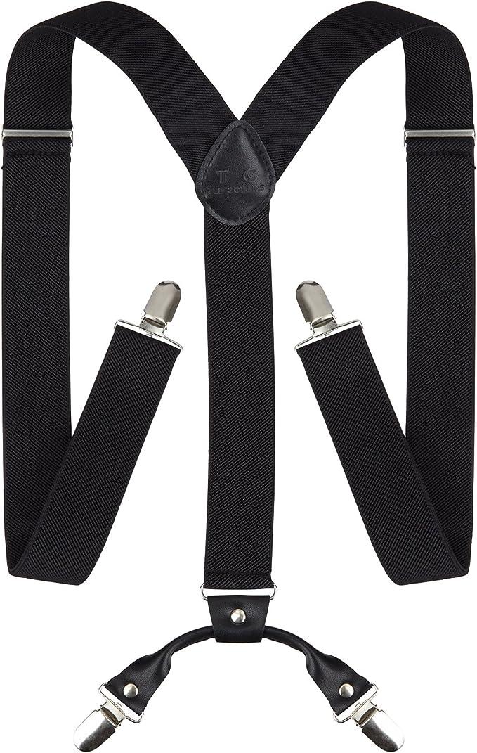 longitud ajustable y el/ásticos para un ajuste c/ómodo//suspensores //- 4 cierres clip ancho 3,5 cm TED COLLINS tirantes para hombre en Y negro