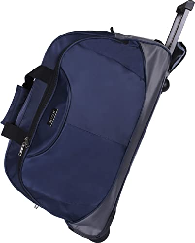 SIYUAN Duffel Bag with Wheels Travel Tote Suitcase Trip Trolley Case Airline Navy Rolling Suitcase for Men Navy Large 25 Inches