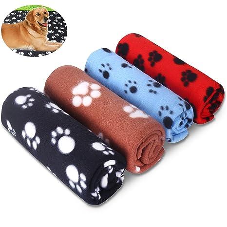 Comsmart Manta de forro polar para mascotas, cálida, con estampado de huellas y manta