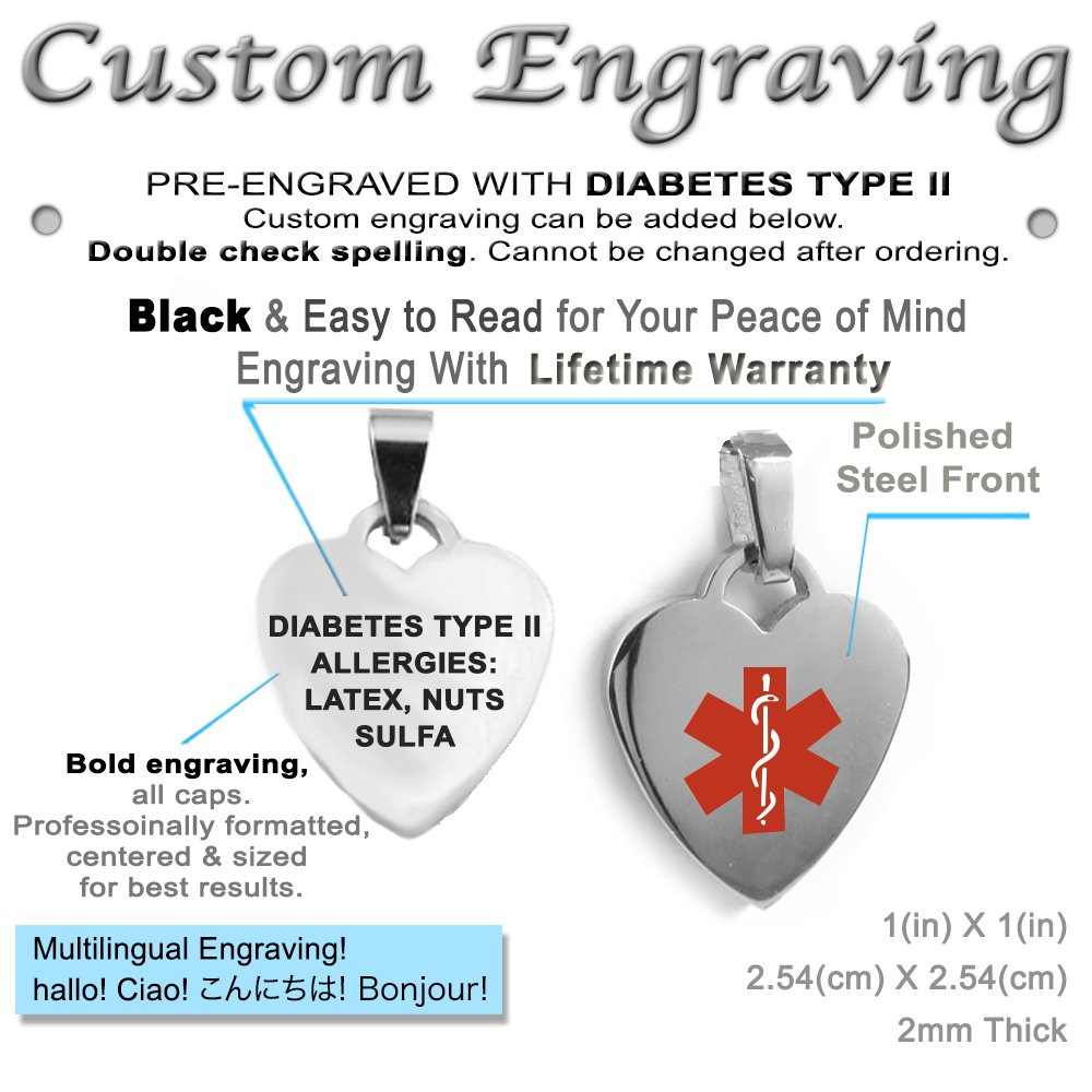 Made in USA Pre-Engraved /& Customized Diabetes Type II Medical ID Heart Pendant Necklace My Identity Doctor Red Steel