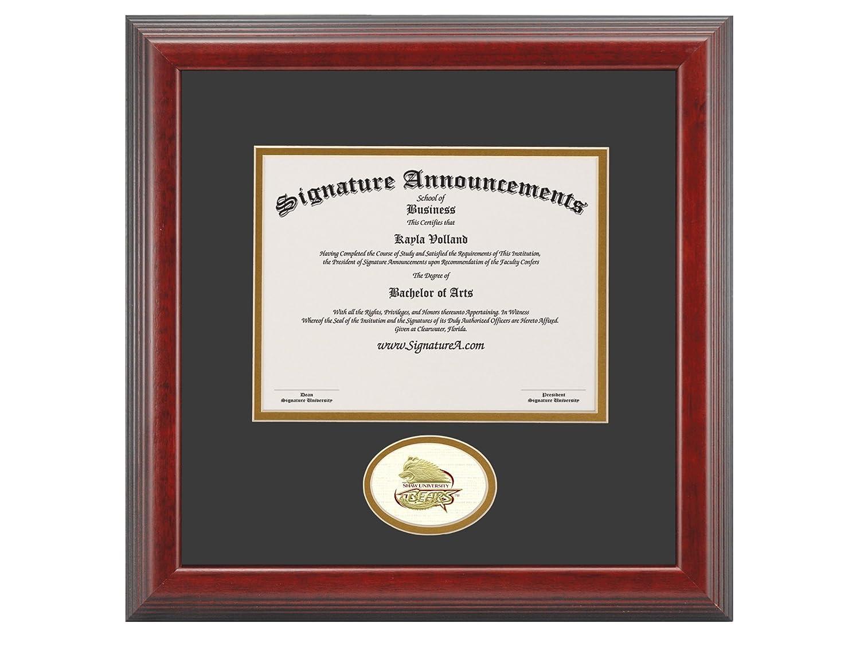 Professional//Doctor Sculpted Foil Seal Graduation Diploma Frame Signature Announcements Shaw-University Undergraduate Cherry 16 x 16