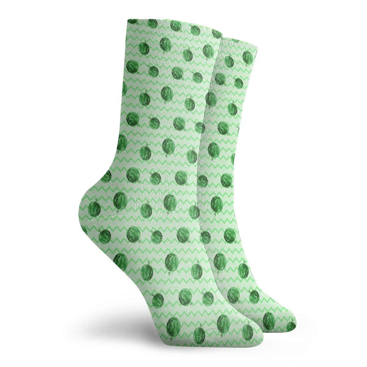 Green Funny Watermelon Unisex Funny Casual Crew Socks Athletic Socks For Boys Girls Kids Teenagers