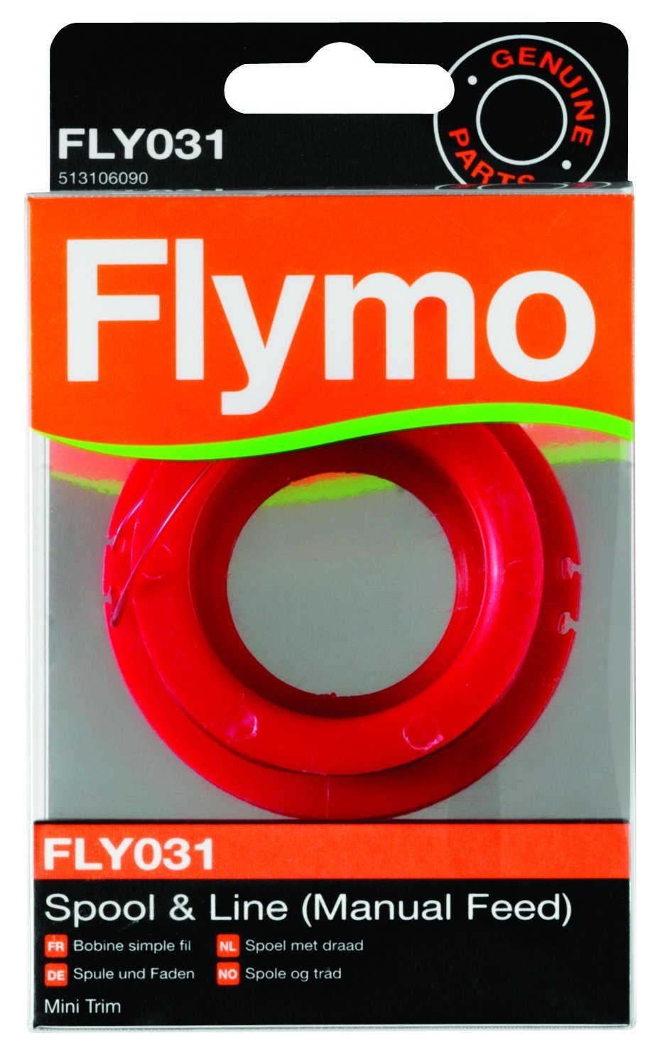 Flymo FLY031 Single Line Manual Feed Spool and Line to Suit Mini Trim and Mini Trim ST - Red Husqvarna FL5131060-90/6