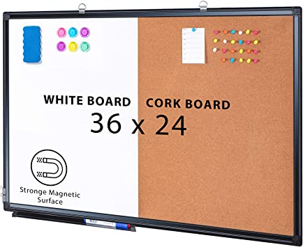Amazon Com Combination Board 36 X 24 Magnetic Whiteboard Cork Board Dry Erase Board Bulletin Combo Board For Home Office Classroom Wall Mounted Memo Message Board Office Products