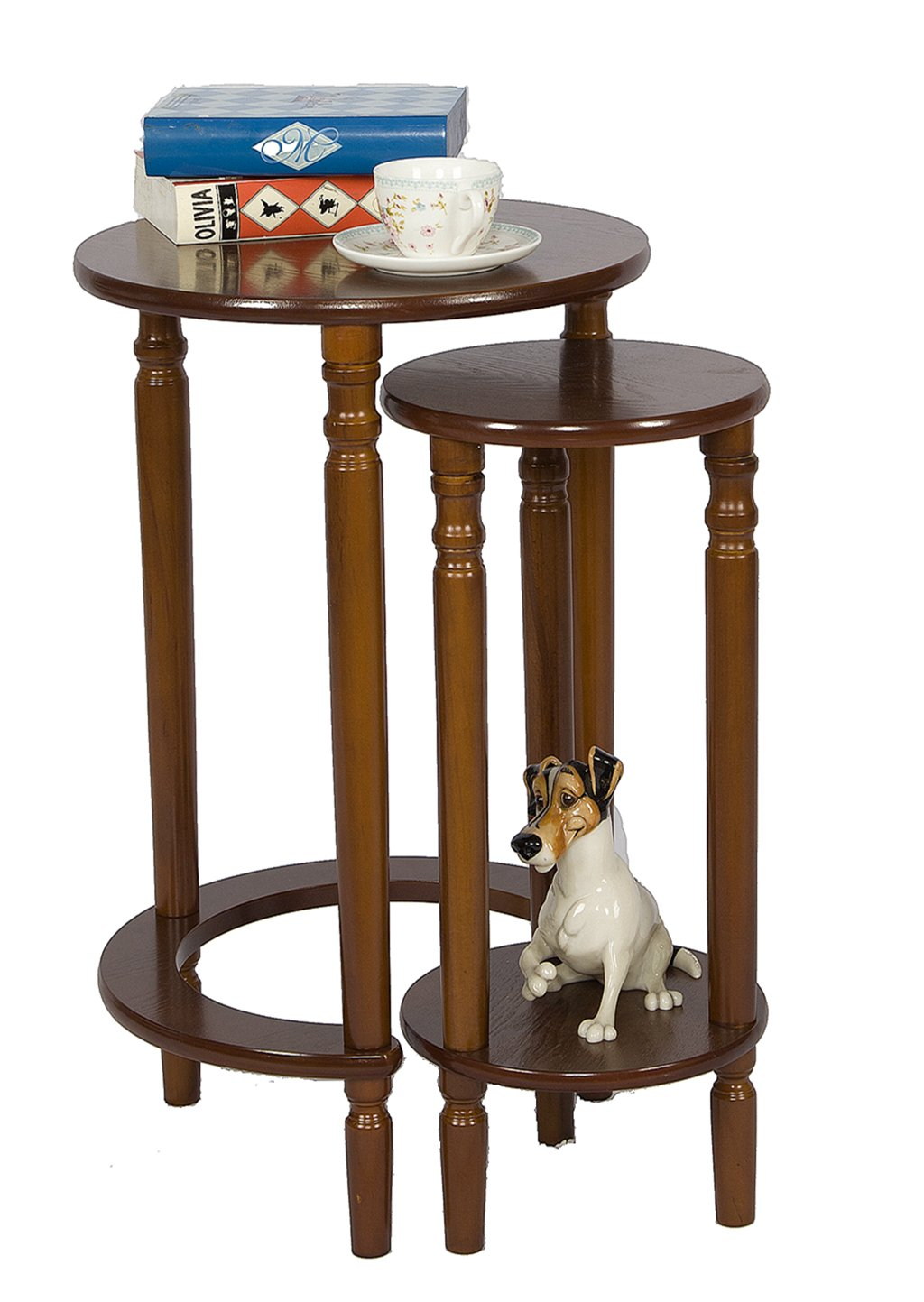Accent Round Wood End Table Sofa Side Set of 2 for Small Spaces Coffee Nesting Tables (WALNUT)