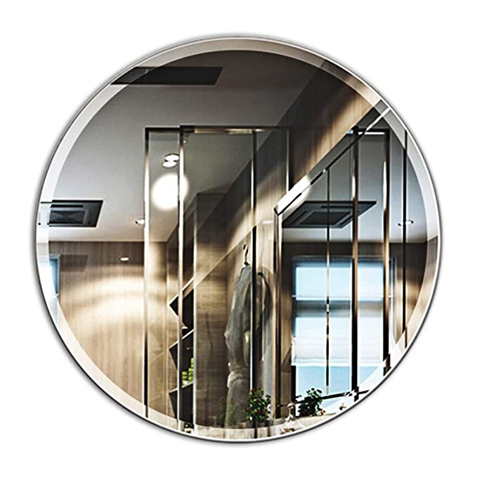 MIRROR TREND 24-Inches Round Frameless Mirror Large Beveled Wall Mirror Solid Core Wood Backing Wall Mirror for Bathroom, Vanity, Living Room, Bedroom