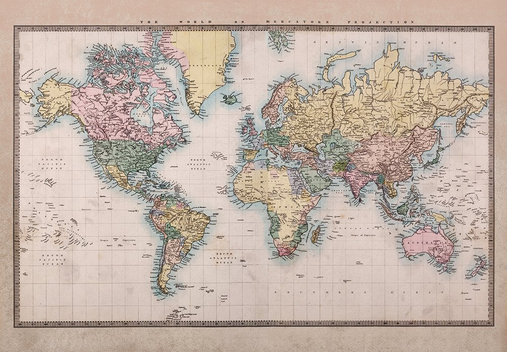 wall26 - Antique Full Color Mercator Projection Political Map of The World Illustration - Wall Mural, Removable Sticker, Home Decor - 100x144 inches by wall26 (Image #3)