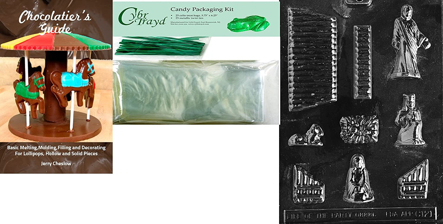 25 Green Twist Ties and Chocolatiers Guide Cybrtrayd Nativity Scene Chocolate Mold with Chocolatiers Bundle of 25 Cello Bags