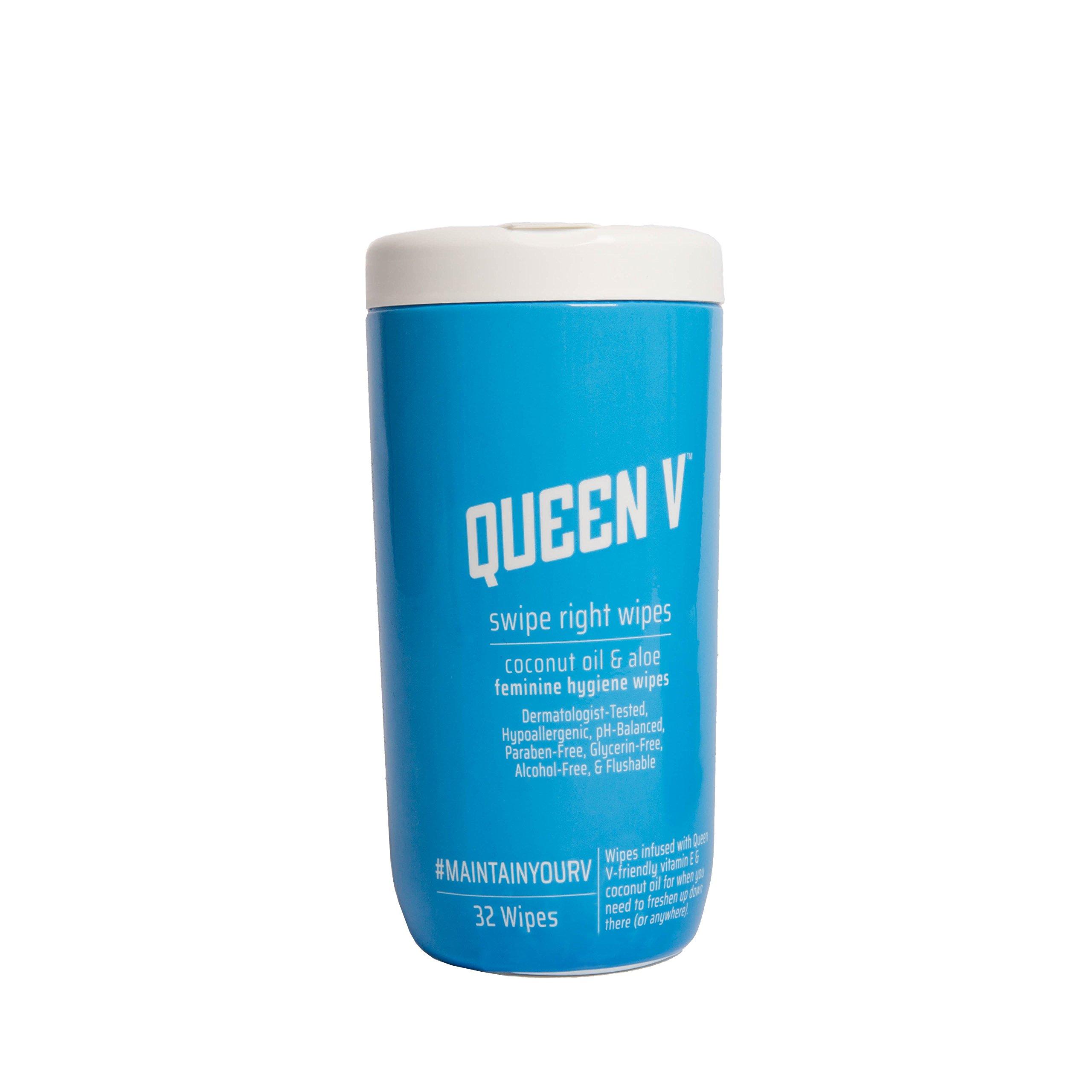Queen V Swipe Right Feminine Hygiene, Coconut Oil & Aloe, 32 Wipes