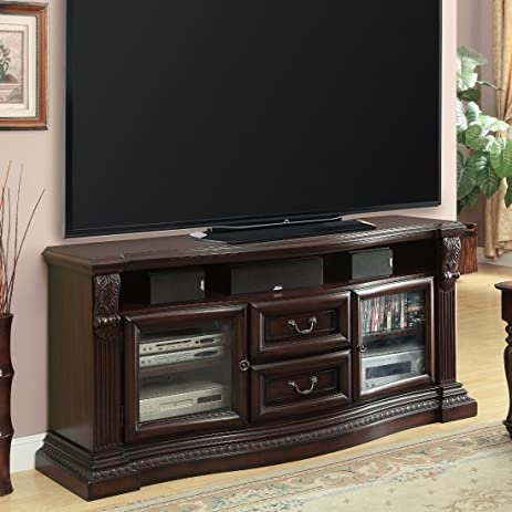 Parker House Bella 67 In. TV Console With Power Center   Antique Vintage  Dark Almond