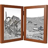 Golden State Art 5x7 Double Hinged Wood Frame - Cinnamon Color - Table/Desk Top - Portrait Display - Swivel Tabs - Real Glass