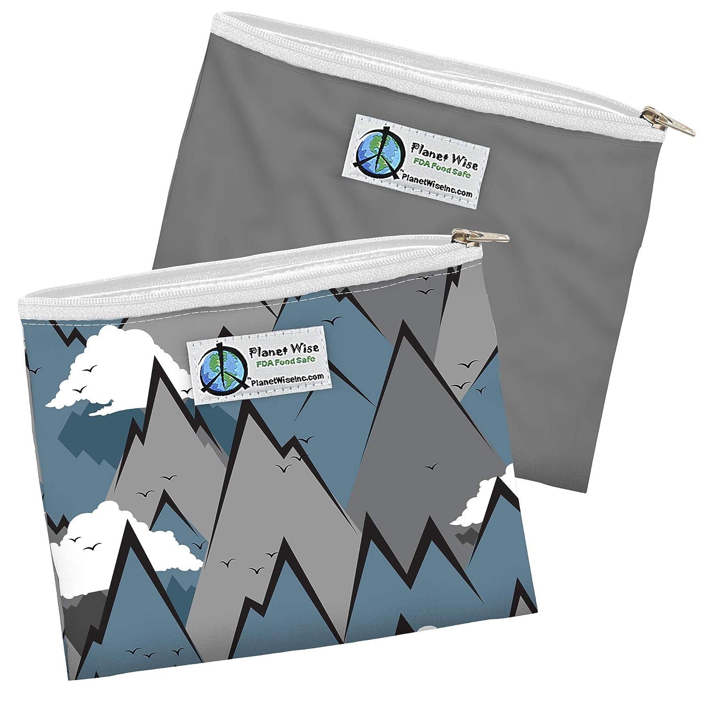 die wiederverwendbare und umweltfreundliche Alternative Planet Wise Sandwich BagBerge grau uni 2er Pack mit Rei/ßverschluss