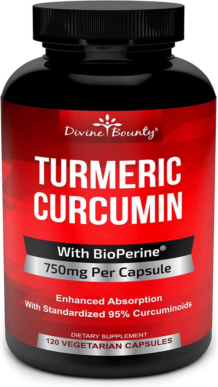 Turmeric Curcumin with BioPerine Black Pepper Extract – 750mg per Capsule, 120 Veg. Capsules – GMO Free Tumeric, Standardized to 95 Curcuminoids for Maximum Potency