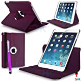 Apple iPad Air 360 Degree Rotating Purple Smart Premium Leather Flip Wallet Stand Case Cover With Auto Sleep Wake Compatibility Big Touch Stylus Pen Screen Protector & Polishing Cloth + 2 IN 1 RED Dust Stopper SVL6875 BY SHUKAN®, (PLAIN PURPLE)