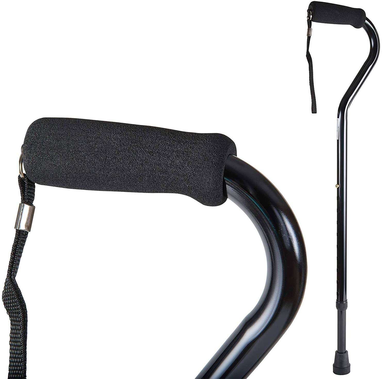 DMI Deluxe Lightweight Adjustable Walking Cane with Soft Foam Offset Hand Grip, For Men and Women, Black