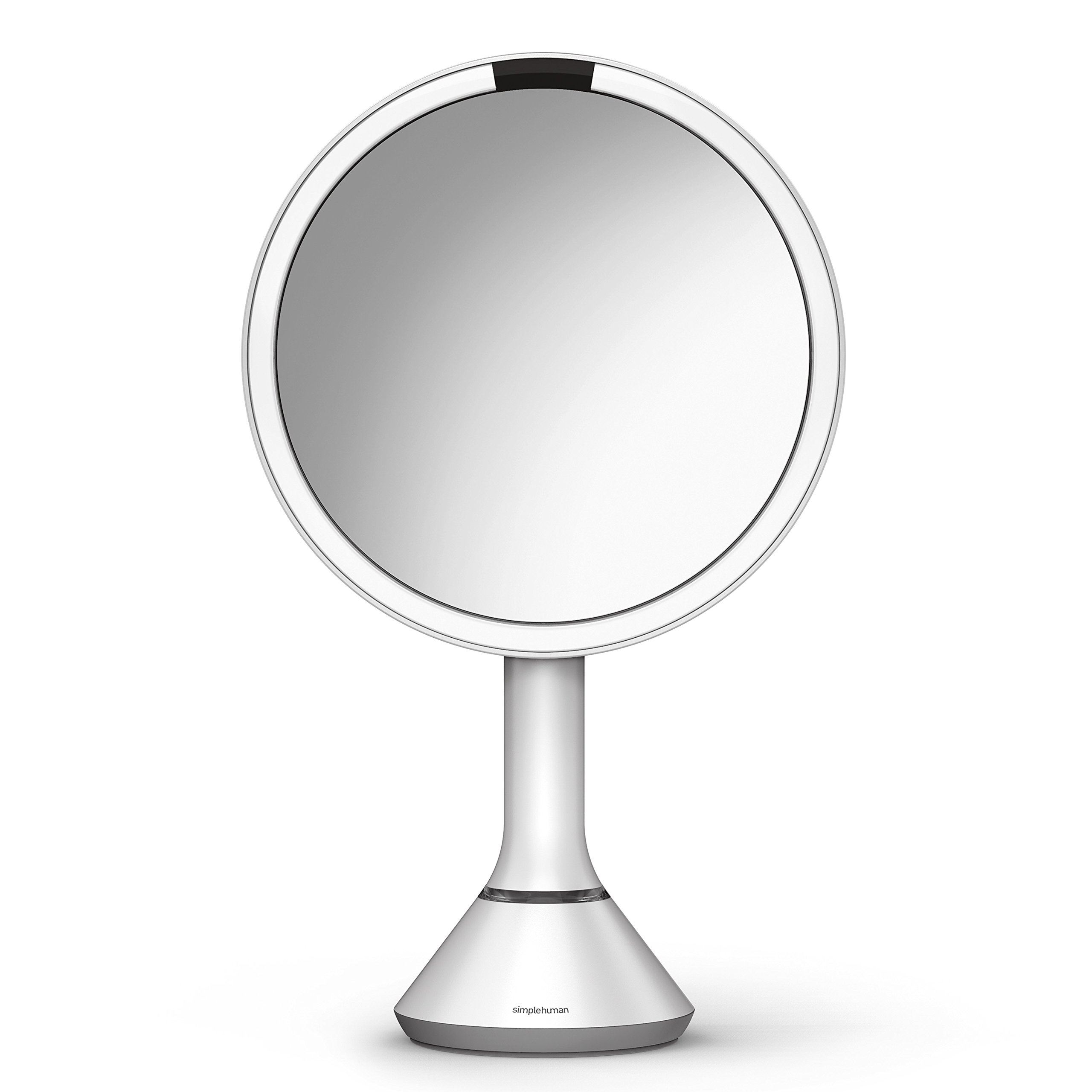 simplehuman Sensor Lighted Makeup Vanity Mirror, 8'' Round With Touch-Control Brightness, 5x Magnification, White Stainless Steel, Rechargeable And Cordless