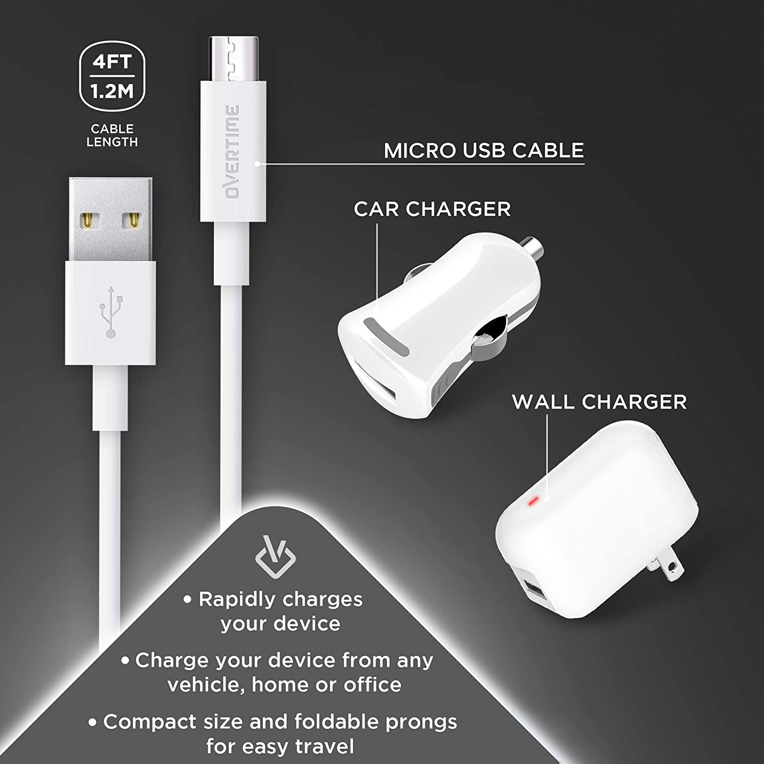 White Overtime Universal Micro USB Home Charger Adapter and Micro USB Cable with Car Charger Pixel 2.4 Amp Charger Kit with Rapid Charge Micro USB to USB A Cable from Android Samsung Galaxy