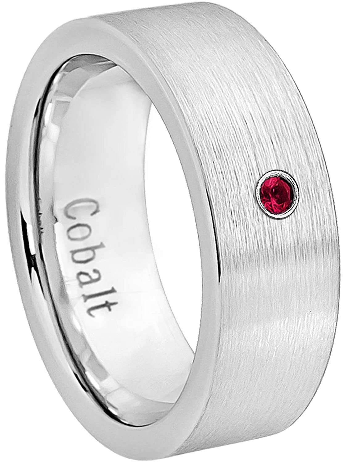 July Birthstone Ring 0.07ct Ruby Cobalt Ring Jewelry Avalanche 8MM Comfort Fit Brushed Pipe Cut Mens Cobalt Chrome Wedding Band