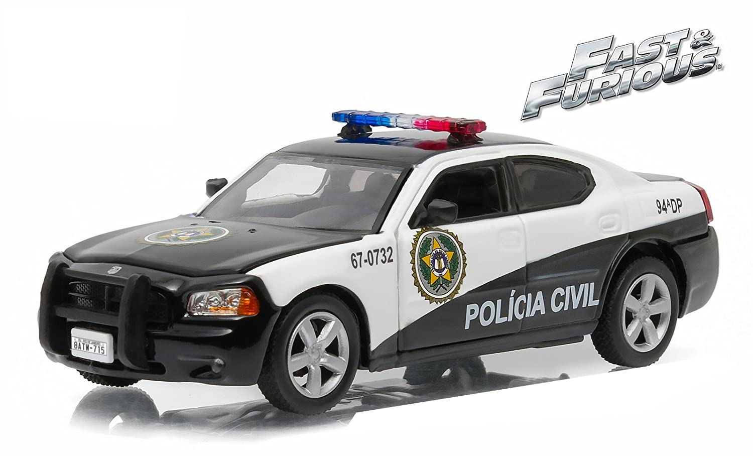 Greenlight Collectibles – 86237 – Dodge Charger – Rio Policía – Fast and Furious 5 – 2011 – Escala 1/43 – negro/blanco